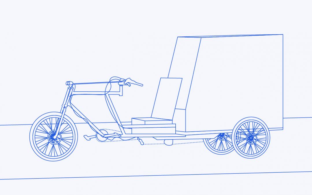 Illustration eines Lastenfahrrads