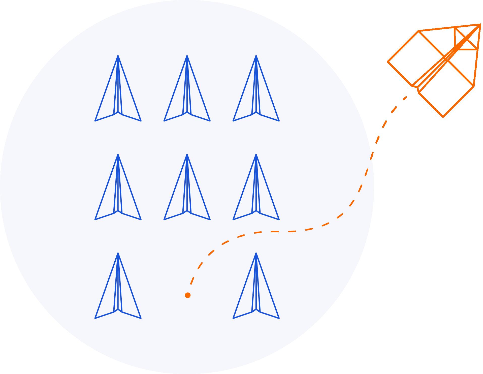 """Illustration zum Thema """"Das machen wir im Intrapreneurship Programm"""", dargestellt als das Ausbrechen eines weiterentwickelten Papierfliegers aus der Norm."""
